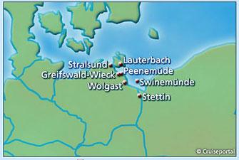 Kreuzfahrten Ostsee mit Inselhopping Usedom, Rügen ab/bis Stralsund mit Greifswald, Peenemünde, Stettin & Stettiner Haff  Karte (c) cruiseportal