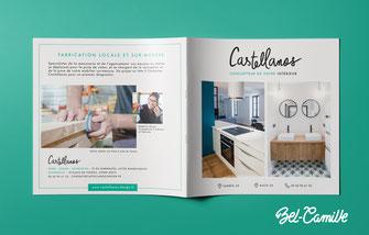 Couverture d'une plaquette 8 pages pour présenter les services d'une entreprise de design de meubles.