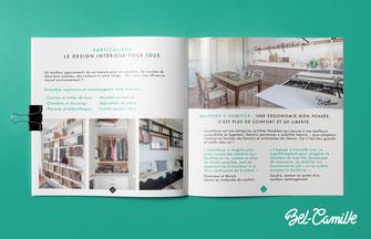 Plaquette 8 pages pour présenter les services d'une entreprise de design de meubles.