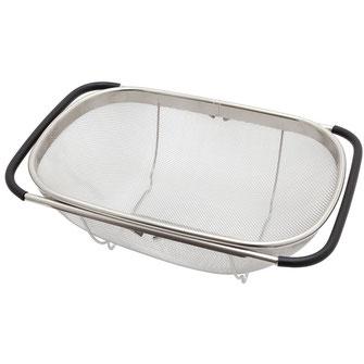 Abstropfsieb aus Edelstahl mit ausziehbaren Griffen - ideal für die Anbringung an Spülen
