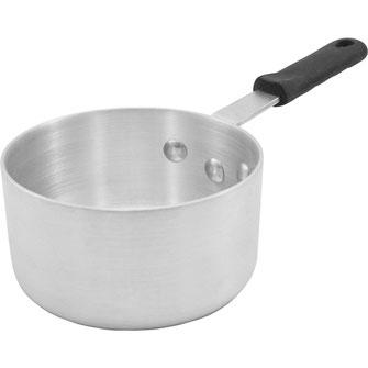 Kasserollen aus Edelstahl oder Aluminium mit praktischem Griff. Geeignet zum Erwärmen geringer Mengen an Suppen oder Soßen.