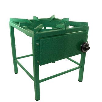Hockerkocher 400B mit grün beschichtetem Stahl und beeindruckender 13 kW Leistung.