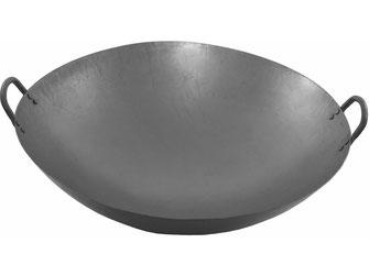 Handgeschmiedeter Wok aus China mit abgerundetem Boden und 2 Griffen - induktionsfähig und auch für Gasherde mit Wokaufsatz