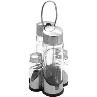 4 teilige Menage mit Salz, Pfeffer, Essig und Öl. Im Set mit Halterung, praktischen Transportgriff und gummierten Boden.