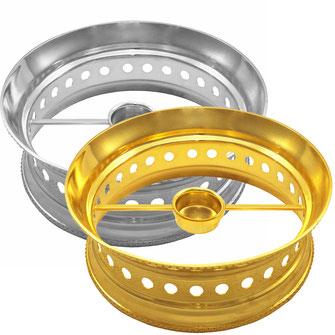 Runder Speisewärmer Modell Palast 1 Kerze in Gold und Silber erhältlich.