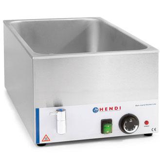 Bain Marie Hendi geeignet zum Warmhalten von Speisen und Soßen. Das Wasser erhitzt die eingesetzten GN-Behälter gleichmäßig. Kein Anbrennen. Mit Ablaufhahn.