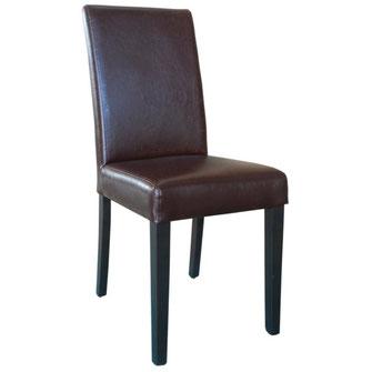 Moderner Stuhl GR369 mit antik braunem Kunstleder Bezug und mit gerader Rückenlehne. Nur für Innengebrauch geeignet.