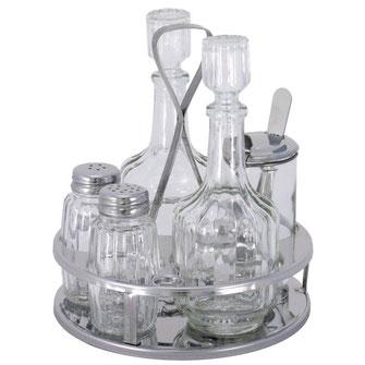 5 teilige Menage mit Salz, Pfeffer, Essig, Öl und Gläschen mit Löffelchen für Sambal Oelek. Mit Edelstahl Halterung und abgerundeten Transportgriff.