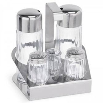 Menage mit Salz, Pfeffer, Essig, Öl und Gläschen für Zahnstocher. Mit Edelstahl Halterung und Transportgriff.