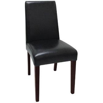 Moderner Stuhl GF954 mit schwarzem Kunstleder Bezug und mit gerader Rückenlehne. Nur für Innengebrauch geeignet.