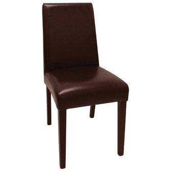 Moderner Stuhl GF955 mit dunkelbraunem Kunstleder Bezug und mit gerader Rückenlehne. Nur für Innengebrauch geeignet.