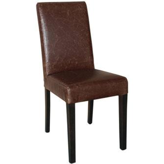 Moderner Stuhl GR368 mit antik gebräuntem Kunstleder Bezug und mit gerader Rückenlehne. Nur für Innengebrauch geeignet.