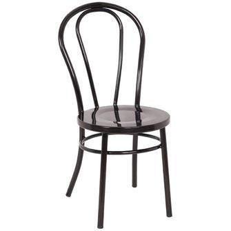Klassischer geschwungener Stuhl GJ778 aus schwarz beschichteter Stahlkonstruktion, ideal für Bars und Bistros.