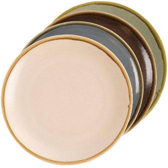 Porzellan Geschirr von Olympia Kiln in vier verschiendenen Farben Sandstein, Ozean, Borke und Moos. Robuste Qualität zu günstigem Preis.