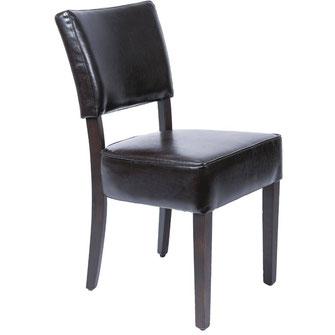 Klassischer Stuhl GF957 mit dunkelbraunem Kunstleder Bezug und mit gerader Rückenlehne. Mit tiefem Sitz. Nur für Innengebrauch geeignet.