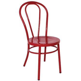 Klassischer geschwungener Stuhl GJ777 aus rot beschichteter Stahlkonstruktion, ideal für Bars und Bistros.