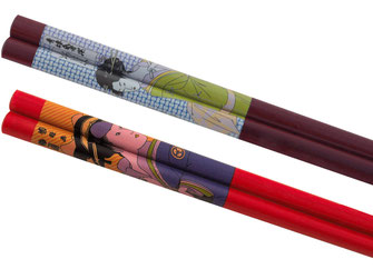 Hochwertige 10 Paar Holzstäbchen in Mahagonifarbe oder Rot mit traditionell japanischem Frauen-Motiv