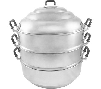 Traditionell thailändischer Dampfkocher aus Aluminium. 4-teilig und geeignet für Elektroherde und Gasherde. Bereiten Sie Ihre Speisen original zu wie in Thailand.