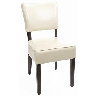 Klassischer Stuhl GF958 mit dunkelbraunem Kunstleder Bezug und mit gerader Rückenlehne. Mit tiefem Sitz. Nur für Innengebrauch geeignet.
