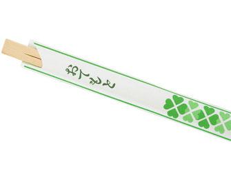 Günstige 100 Paar Einwegstäbchen aus Bambus einzeln verpackt. Helle Papiertüte mit japanischen Schriftzeichen und grünem Blumen-Motiv.