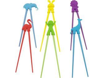 Bunte Lernstäbchen für Kinder aus schadstofffreiem Plastik und Gummi. Abwaschbar und wiederverwendbar. Erhältlich mit Elefanten, Hasen, Löwen, Kranich, Kinder und Giraffen.