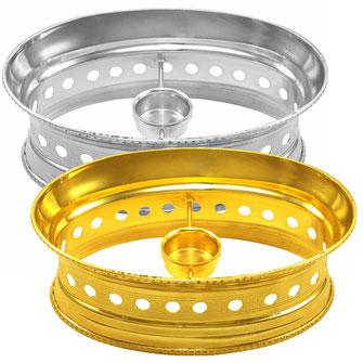 Ovaler Speisewärmer Modell Palast mit 1 Kerze in Gold und Silber erhältlich.