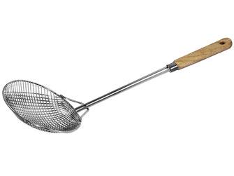 Feinmaschige Frittierlöffel zum Reinigen des Öls, Stabile Löffel mit Holzgriff zum Frittieren Ihrer Speisen und Frittierseiher zum Abtropfen Ihres Frittierguts