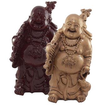 Wandernder Buddha mit Glücksamulett, Kalebasse, Goldsack, Wanderstock aus Kunststoff / Plastik in Gold oder Mahagoni
