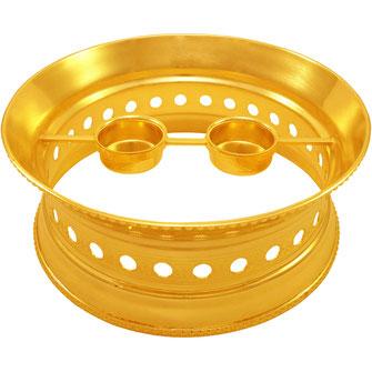 Runder Speisewärmer Modell Palast mit 2 Kerzen in Gold erhältlich.