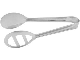 Greifzange mit optisch ansprechender Form zum Servieren von wamen und kalten Speisen.