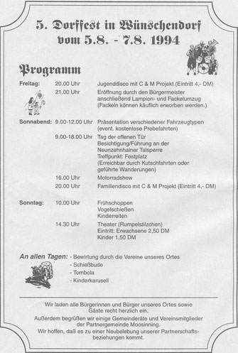 Bild: Wünschendorf Erzgebirge Dorffest 1994