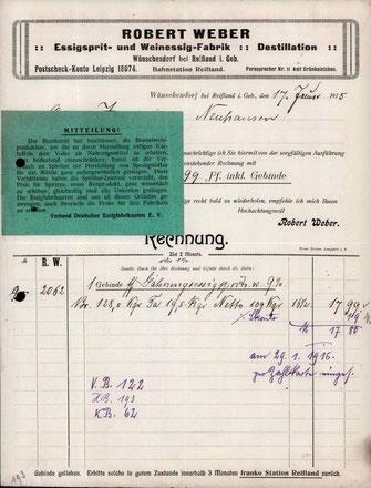 Bild: Robert Weber Rechnung 1915