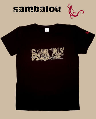 "Sambalou T-shirt 100% coton biologique / article : T-shirt ""Panoramasque"" black"