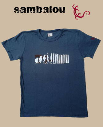 "Sambalou T-shirt 100% coton biologique / article : T-shirt ""Evolution"" blue grey"