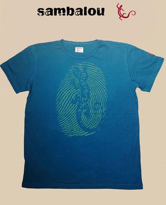 Sambalou T-shirt 100% coton biologique emprunte de doigt + salamandre beu