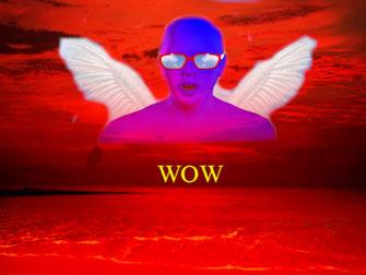 """Dieses Bild zeigt einen blutroten Himmel in der Abenddämmerung. Darin ist """"Wow"""" eingeschrieben als Ausdruck des Erstaunens. Über der Szene schwebt ein blauer Avatar mit Engelsflügeln. Ein surrealer Anblick."""