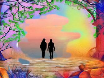 Zwei Personen steigen aus einem märchenhaften See und gehen in eine Fantasy Welt hinein. Das Thema lautet: Wo liegt der Karnutenwald?