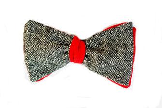 Wendefliege zweifarbig grau auf rot zum Selbstbinden