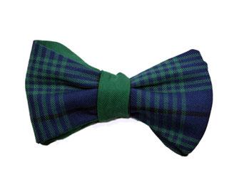 Herren Anzug Fliege in zwei Farben - Grün blau kariert vorne, grün einfarbig hinten