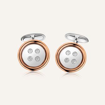 """Manschettenknöpfe """"Button"""" aus 18-Karat Weiss- und Roségold mit runden Diamanten. 100% Swiss Handmade"""