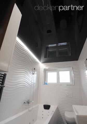 CILING-Spanndecke im Badezimmer, schwarz, Glanz, LED-Lichtkanal 68519 Viernheim