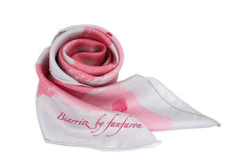 Foulard Fanfaron Biarritz Pays Basque Made in France Carré de Soie rose