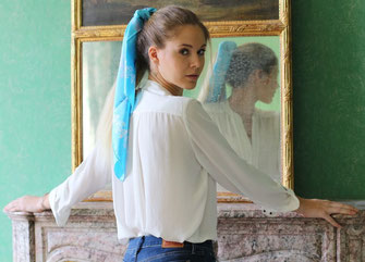 Foulard Marie Antoinette Soie Porter Cheveux Fanfaron