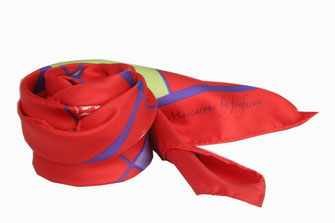 Carré de soie Fanfaron Mascarons Bordeaux Made in France Foulard