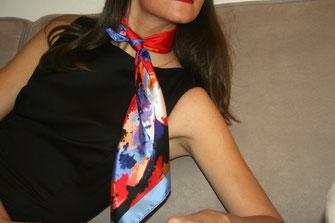 fanfaron, foulard en soie, carré de soie, twill de soie, foulard made in france, julie d'aragon, victoire
