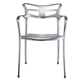 sillón de diseño gaudiniano para interior o exterior liceo actuestil en aluminio