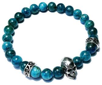 Deep Sea gemstone beads bracelet with 925 sterling silver made by BeHero