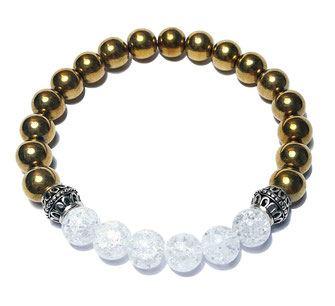 Comet (gold) gemstone beads bracelet with 925 sterling silver made by BeHero