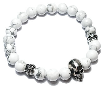Red Skull gemstone beads bracelet with 925 sterling silver made by BeHero