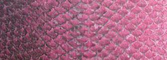 Détail cuir de saumon fuchsia teint à la cochenille